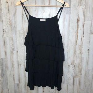 🎉3/$10 Size large black ruffle tank top